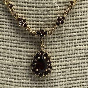 Bohemian Style Garnet Necklace